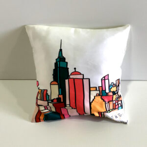 Colourful Building Patterned Cushion Cover